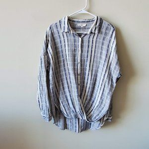 Entro By Anthropologie Button Down Striped Top